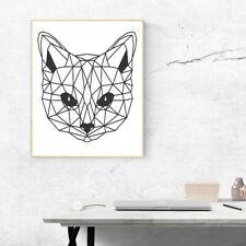 Geometric Cat Face Design Vinyl Sticker Wall Decal A4 Home Living Room Decor