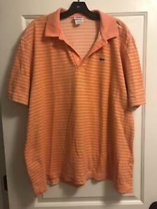 LACOSTE MENS SIZE 8 (XXL) Short Sleeve Polo Orange And Yellow Stripe Shirt