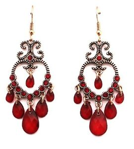 Vintage retro style red bronze and drop chandelier earrings