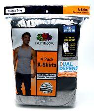 8 Black Gray 3XL 54-56 Inch A-Shirt Tank Fruit Of The Loom 3EG 137-142 CM
