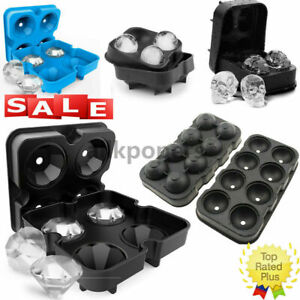 4 Ball Ice Cube Maker Diamond/Skull/Round Silicone Mould Sphere Whiskey DIY Mold
