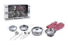 11 Piece Steel Metal Pots Pan Utensil Kitchen Cooking Play Set Girls Craft Toy U