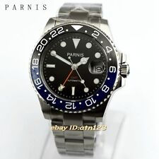 40MM PARNIS CERAMIC BEZEL BLACK DIAL STEEL BAND AUTOMATIC MOVEMENT GMT WATCH2173