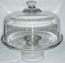 Clear Glass Pedestal Cake Plate Pie Pastry Stand Dome Lid