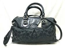 COACH Ashley Signature Sateen Satchel Shoulder Bag F15443 Black