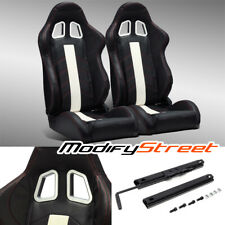 2 X Black Pvc Leatherwhite Stripred Stitching Leftright Racing Bucket Seats Fits Toyota Celica