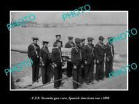 OLD POSTCARD SIZE PHOTO OF SPANISH AMERICAN WAR c1898 USS YOSEMITE GUN CREW