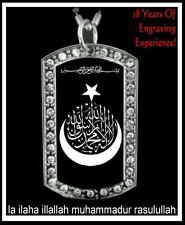 Shahada CZ Islam/Muslim Symbol - CZ Dog Tag Pendant Necklace