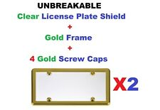 2 UNBREAKABLEClear License Plate Shield Covers + 2 Gold Frames for Cars