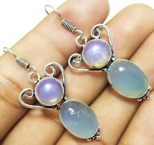 """40cts Earring Chalcedony & Opalite Gemstone 925 Sterling Silver Overlay Sz 1.8"""""""