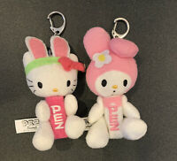 2 Hello Kitty My Melody Plush Bunny PEZ Dispensers Keychain/Backpack Clip Easter