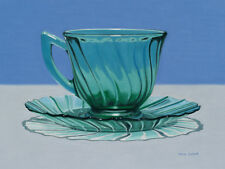 DANFORTH Green Cup And Saucer 9x12 archival giclee paper print of painting