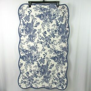 """JCP Home Blue White Toile Quilted King Pillow Sham Scalloped 25"""" x 40"""" Floral"""