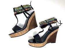 Baby Phat Womens Sandals T-Strap Wedge High Heels Beaded Breslin Black Sz 8M