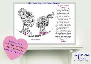 Personalised Wedding Day Poem Gift From Mother of Bride to Daughter Mum Mom Mama