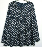 Ex Seasalt Little Echinacea Flower Squall Carved Slate Tunic Top - Size 8 - 26