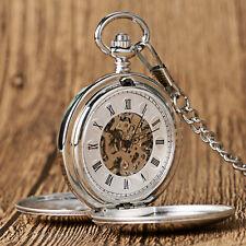 Luxury Silver Smooth Roman Numerals Mechanical Hand Wind Men Pocket Watch Chain