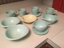 Lot 12 Boonton Mint Green Winged Bowl Melmac Bootonware Belle Creamer Cups+