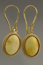 Egg Yolk White Genuine BALTIC AMBER Gold Plated Silver Earrings 3.6g 180611-5