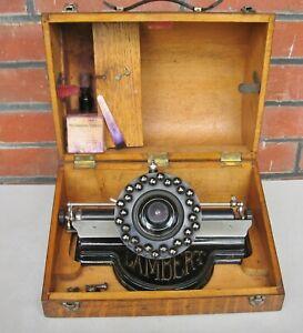 RARE G & T LAMBERT Typewriter  w. original oak case -- for repair / restoration
