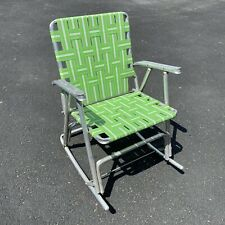Vintage Aluminum Webbing Rocking Folding Lawn Patio Chair Green Mid Century MCM