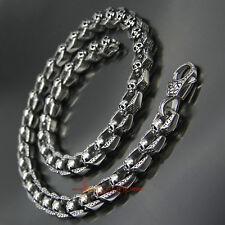 Men Vintage Skull Link Necklace Heavy Silver Stainless Steel Chain Biker Jewelry