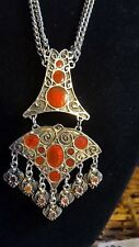 Vintage Tribal Boho Necklace on Double Silver Tone Chain