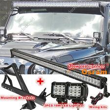 "52"" 700W +2X18W osram LED Light Bar Mount Bracket Fit for Jeep JK Wrangler 07-16"
