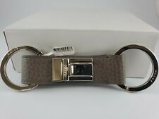 New Bally Saxton Key Holder Keychain Gray Calf Leather Palladium Brass  ITALY