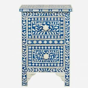 MADE TO ORDER Bone Inlay Indian Handicraft Bedside Cabinet Table Blue Floral