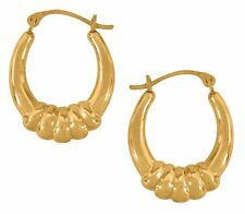 10K Real Yellow Gold Oval Shrimp Hoop Earrings Hoops 20mm Long