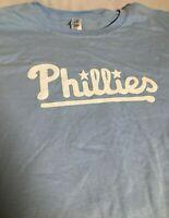 PHILADELPHIA PHILLIES Baby Blue Spellout Promo MLB Baseball T-Shirt Men's XL-2XL