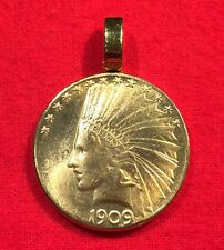Gold Tone American Indian Head War Bonnet Eagle Coin Pendant for Necklace + Box!