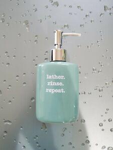 Dolomite Ceramic Liquid Soap Dispenser with Plastic Pump 10oz. Mint