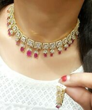 Indian Bollywood Choker Collar Pink Stone Necklace Goldtone Earring Wedding Gift