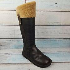 UGG Australia 5191 Loracano Brown Leather Bomber Shearling Sheepskin Zip Boots 6