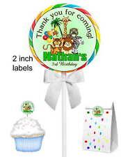 40 JUNGLE SAFARI BIRTHDAY PARTY LOLLIPOP STICKERS ~ goody bags, seals, etc