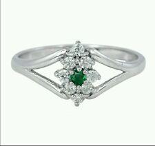 Zambian Emerald & Zircon 925 Sterling Silver Ring