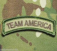 TEAM AMERICA US ARMY USA MILITARY ISAF OAF MULTICAM HOOK BADGE MORALE PATCH