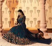 Designer Deep Teal Color Georgette Embroidered Anarkali Salwar. Size 40. New.