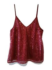 H&M DIVIDED Womens Size 14 Sequined Burgundy Camisole Lining Adjustable Straps