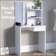 White Modern Dressing Table With Vanity Mirror With Drawer And Shelf Make Up New
