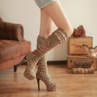 Sexy Women's Party Thigh High Platform Leopard Stiletto Heel Over the Knee Boots