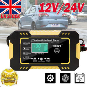 12V 24V Smart Automatic Car Battery Charger Jump Starter Pulse Repair 8A AGM/GEL