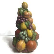 "Ceramic Fruit Topiary Tree Centerpiece Vintage Handmade Hand Painted Decor 12"""