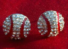 New Baseball Rhinestone Stud Earrings
