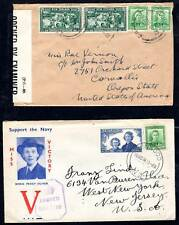 NEW ZEALAND 1940's 4 WAR TIME CENSORED COVERS TO  U.S.