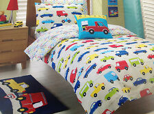 3 pce Traffic Jam Kids Boys Single Bed Quilt Doona Cover Set Floor Rug $124.95