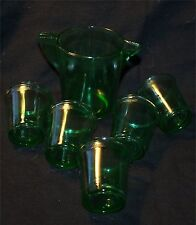 6 piece Children's Dishes Akro Agate Transparent Green depression glass set