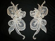 PAIR MIRROR EMBROIDERED ORGANZA LACE APPLIQUE  BODICE / YOKE BRIDAL IVORY NEW